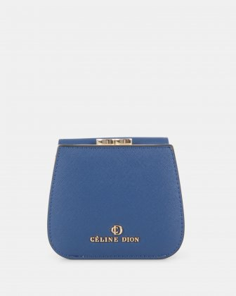 GRAZIOSO - Small rounded wallet with integrated coin clasp - Indigo  Céline Dion