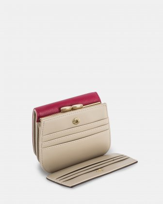 GRAZIOSO - Small rounded wallet with integrated coin clasp - Magenta Céline Dion