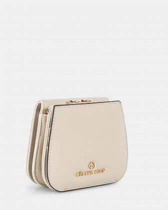 GRAZIOSO - Small rounded wallet with integrated coin clasp - sand - Céline Dion