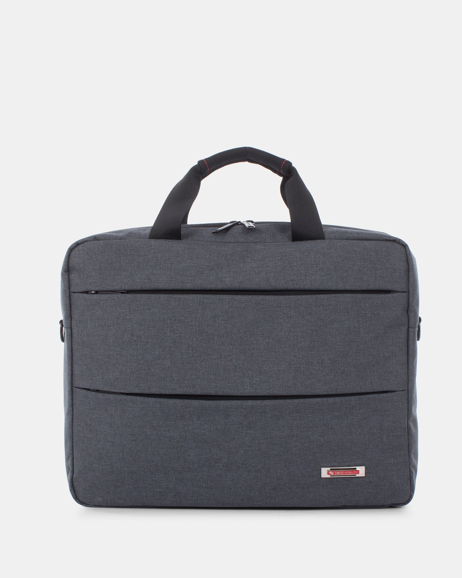 "Elevate – Soft Briefcase for 15.6"" Laptop with Adjustable and removable shoulder strap - Grey    - Swiss Mobility - Zoom"