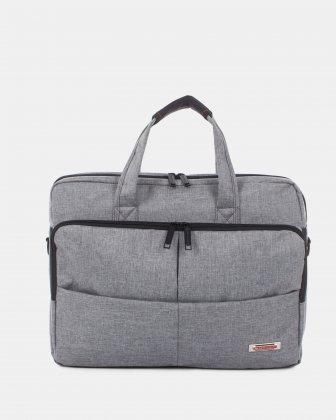 "Sterling – Soft Briefcase for 15.6"" laptop with Adjustable and removable shoulder strap - Grey  Swiss Mobility"