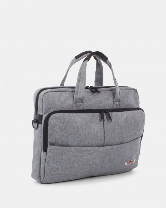 "Sterling – Soft Briefcase for 15.6"" laptop with Adjustable and removable shoulder strap - Grey  - Swiss Mobility"