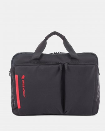 "Stride – Soft Briefcase for 15.6"" laptop with Reinforced handles - Black Swiss Mobility"