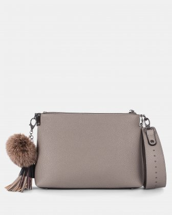 HARMONY - CLUTCH converted to a small shoulder bag - Taupe - Céline Dion