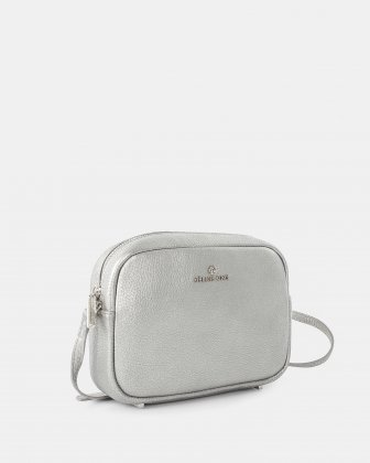 ADAGIO - LEATHER CROSSBODY BAG WITH Adjustable strap - SILVER Céline Dion