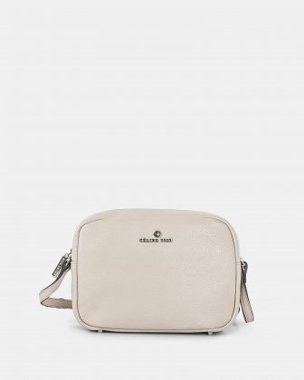 ADAGIO - LEATHER CROSSBODY BAG with Back zippered pocket - SAND Céline Dion