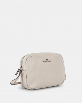 ADAGIO - LEATHER CROSSBODY BAG with Back zippered pocket - SAND - Céline Dion