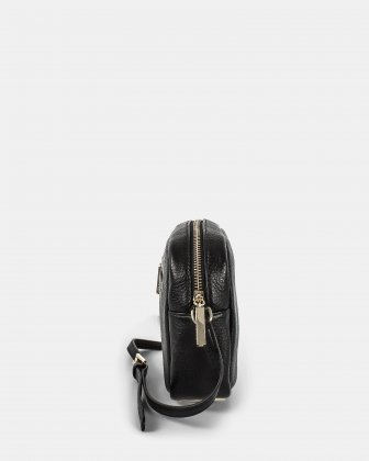ADAGIO - LEATHER CROSSBODY BAG with Back zippered pocket - Black Céline Dion