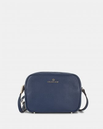 ADAGIO - LEATHER CROSSBODY BAG with Back zippered pocket - COBALT Céline Dion