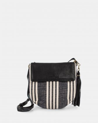 FORTE - Crossbody in canvas with Adjustable & removable leather strap - Stripe/black  Céline Dion