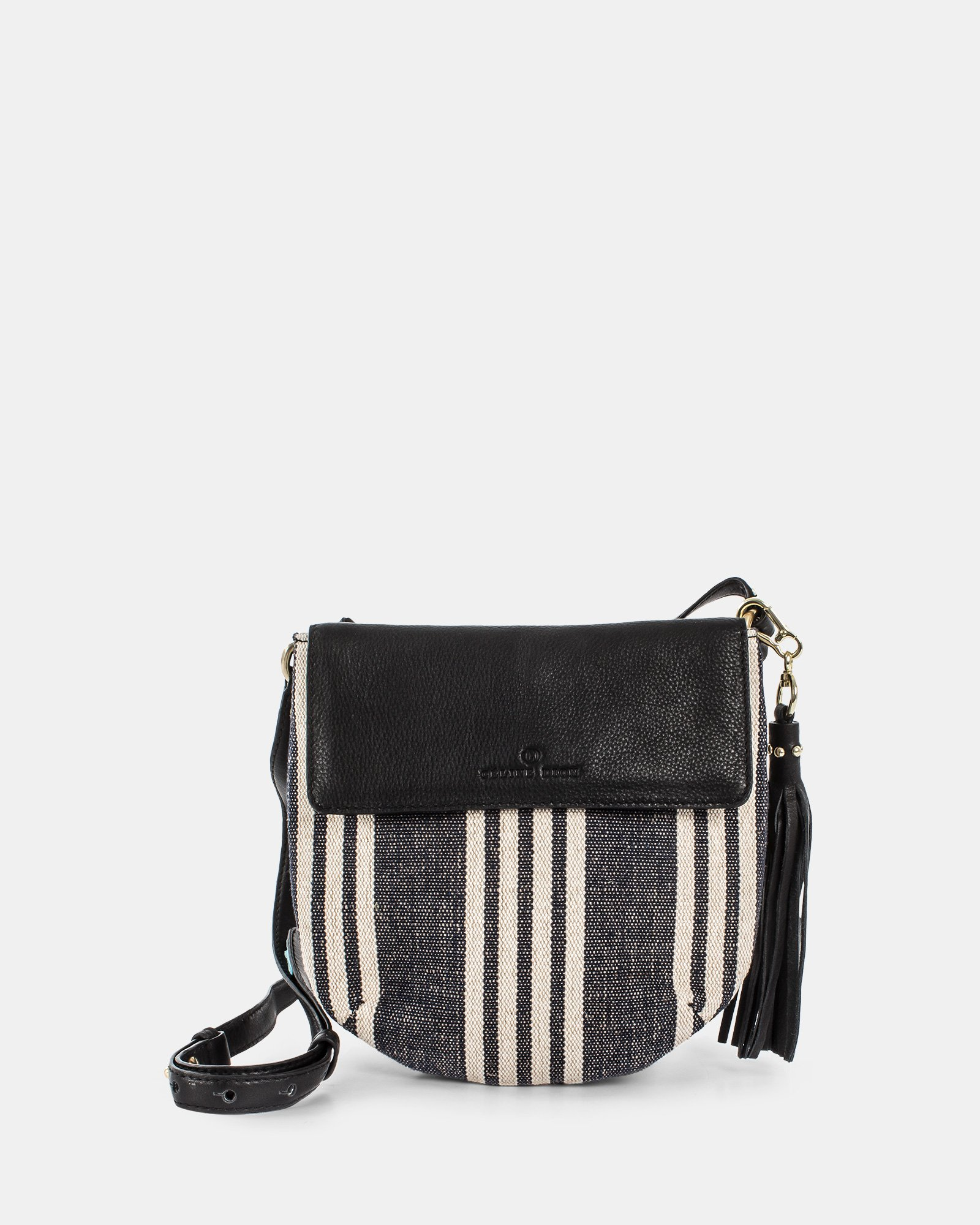 FORTE - Crossbody in canvas with Adjustable & removable leather strap - Stripe/black  - Céline Dion - Zoom