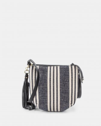 FORTE - Crossbody in canvas with Adjustable & removable leather strap - Stripe/black  - Céline Dion
