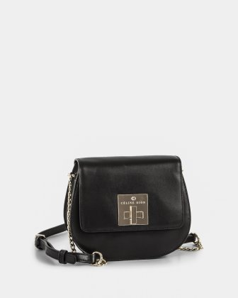 MINUET - Flap bag Crossbody chain and leather ajustable strap - Black Céline Dion