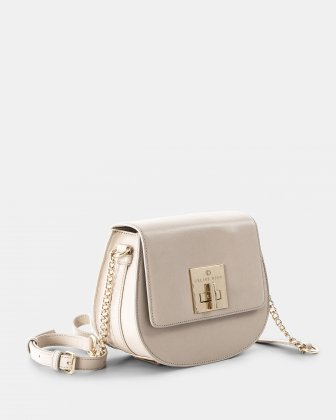 MINUET - Flap bag with chain and leather ajustable strap - sand Céline Dion