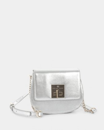 MINUET - Flap bag with chain and leather ajustable strap - Silver Céline Dion