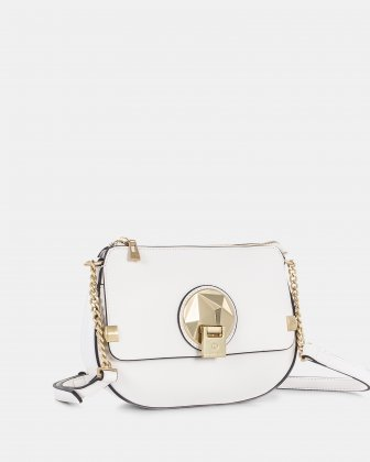 OCTAVE - Crossbody with adjustable chain and leather strap - white Céline Dion