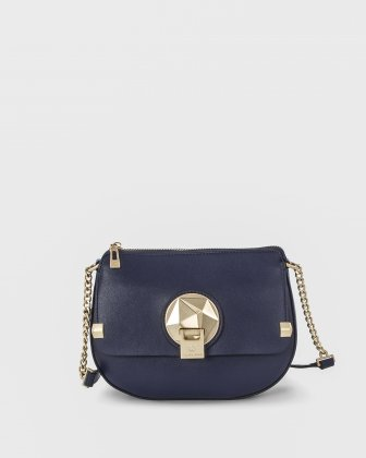 OCTAVE - Crossbody with adjustable chain and leather strap - Navy Céline Dion