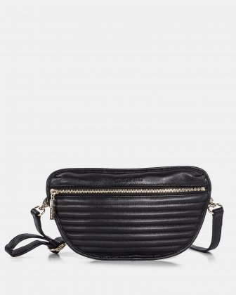 VIBRATO - Leather Money belt with front zipper closure - Black Céline Dion