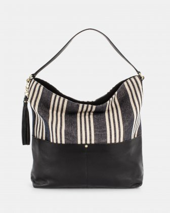 FORTE - Hobo Bag in canvas with leather shoulder strap - Stripe/black Céline Dion