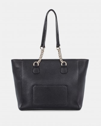 ADAGIO - Large LEATHER Tote bag with chain link handles - BLACK Céline Dion