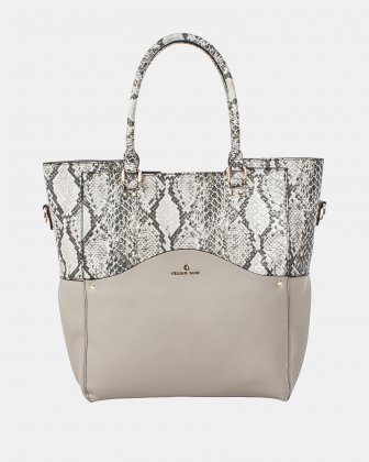 Céline Dion MOTIF - Tote Bag with removable and ajustable strap - LTgrey/snake