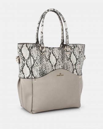 MOTIF - Tote Bag with removable and ajustable strap - LTgrey/snake - Céline Dion