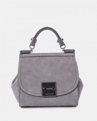 BAROQUE - Suede HANDLE BAG with Adjustable and removable strap - Grey Céline Dion