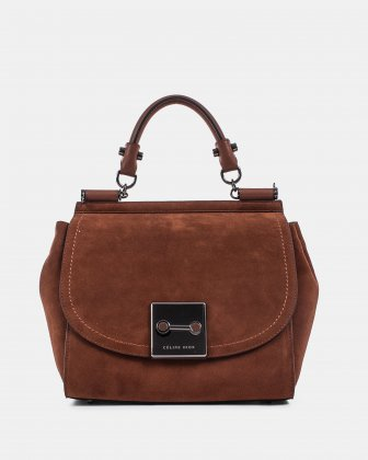 BAROQUE - Suede HANDLE BAG with Adjustable and removable strap - tan Céline Dion