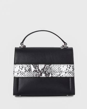 CONDUCTOR - Smooth leather & snake  leather-like satchel with multiple pockets - Black/snake   Céline Dion