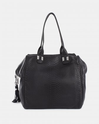 ELEGY - Smooth and croco embossed leather SATCHEL - Black Céline Dion