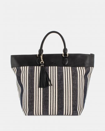 FORTE - Large tote bag in canvas and leather trims - Stripe/black Céline Dion