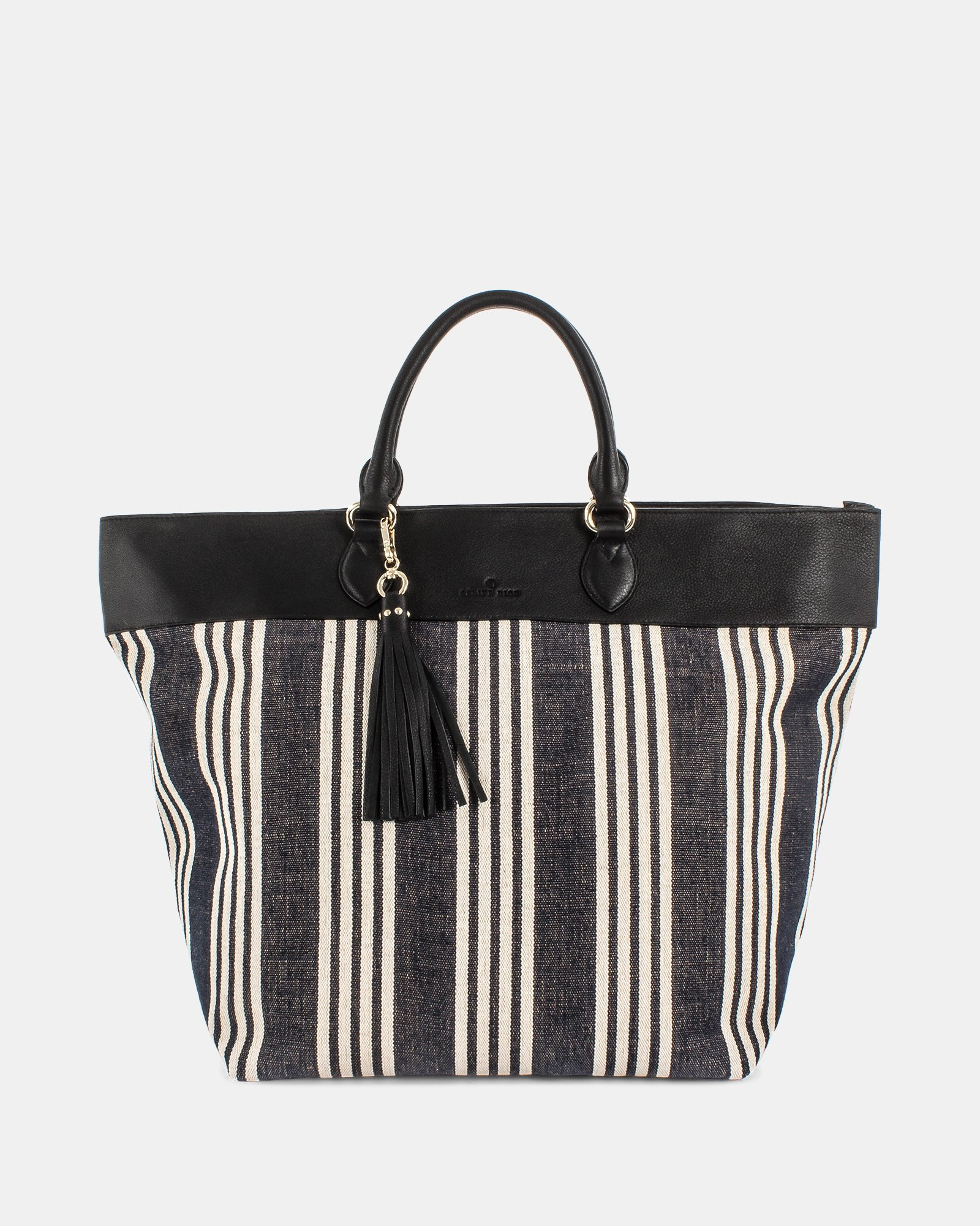 FORTE - Large tote bag in canvas and leather trims - Stripe/black - Céline Dion - Zoom