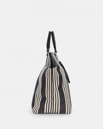 FORTE - Large tote bag in canvas and leather trims - Stripe/black - Céline Dion