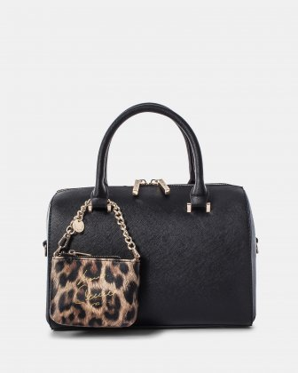 Grazioso - Leather-like satchel - BLACK/LEOPARD Céline Dion