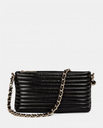 VIBRATO - Quilted leather crossbody with removable strap  - BLACK Céline Dion