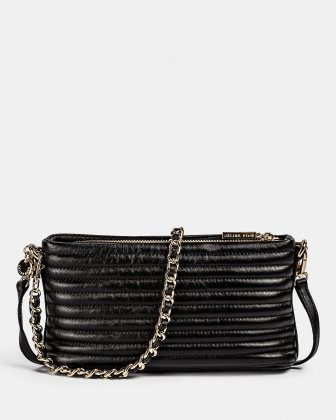 VIBRATO - Quilted leather crossbody with removable strap - BLACK - Céline Dion