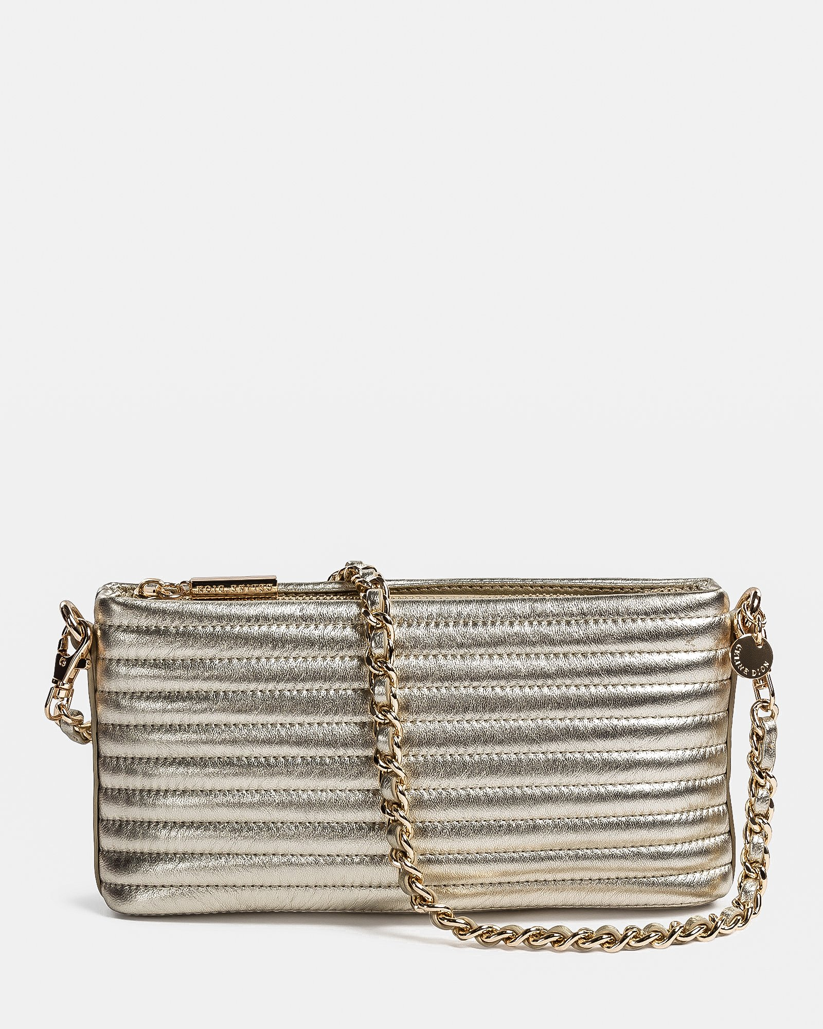 VIBRATO - Quilted leather crossbody with removable strap - GOLD - Céline Dion - Zoom