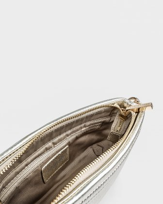 VIBRATO - Quilted leather crossbody with removable strap - GOLD - Céline Dion