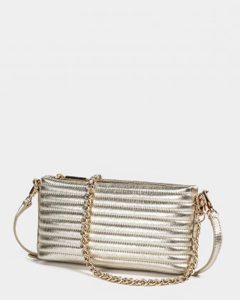 VIBRATO - Quilted leather crossbody with removable strap - GOLD Céline Dion