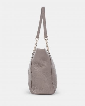 ADAGIO - Large LEATHER Tote bag with chain link handles - TAUPE Céline Dion