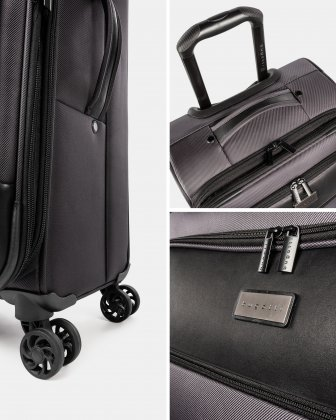 Boston - Lightweight Softside 24'' Luggage with Zipper-release expansion system - Charcoal - Bugatti