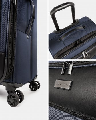 """Boston - Lightweight Softside Carry-on with 15.6"""" laptop compartment - Navy - Bugatti"""