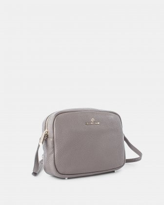 ADAGIO - LEATHER CROSSBODY BAG WITH Adjustable strap - Taupe Céline Dion