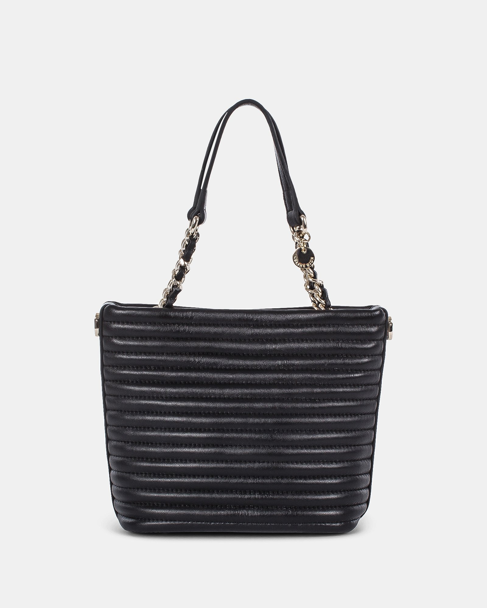 VIBRATO - Quilted LEATHER SATCHEL BAG with Adjustable & removable strap - BLACK - Céline Dion - Zoom