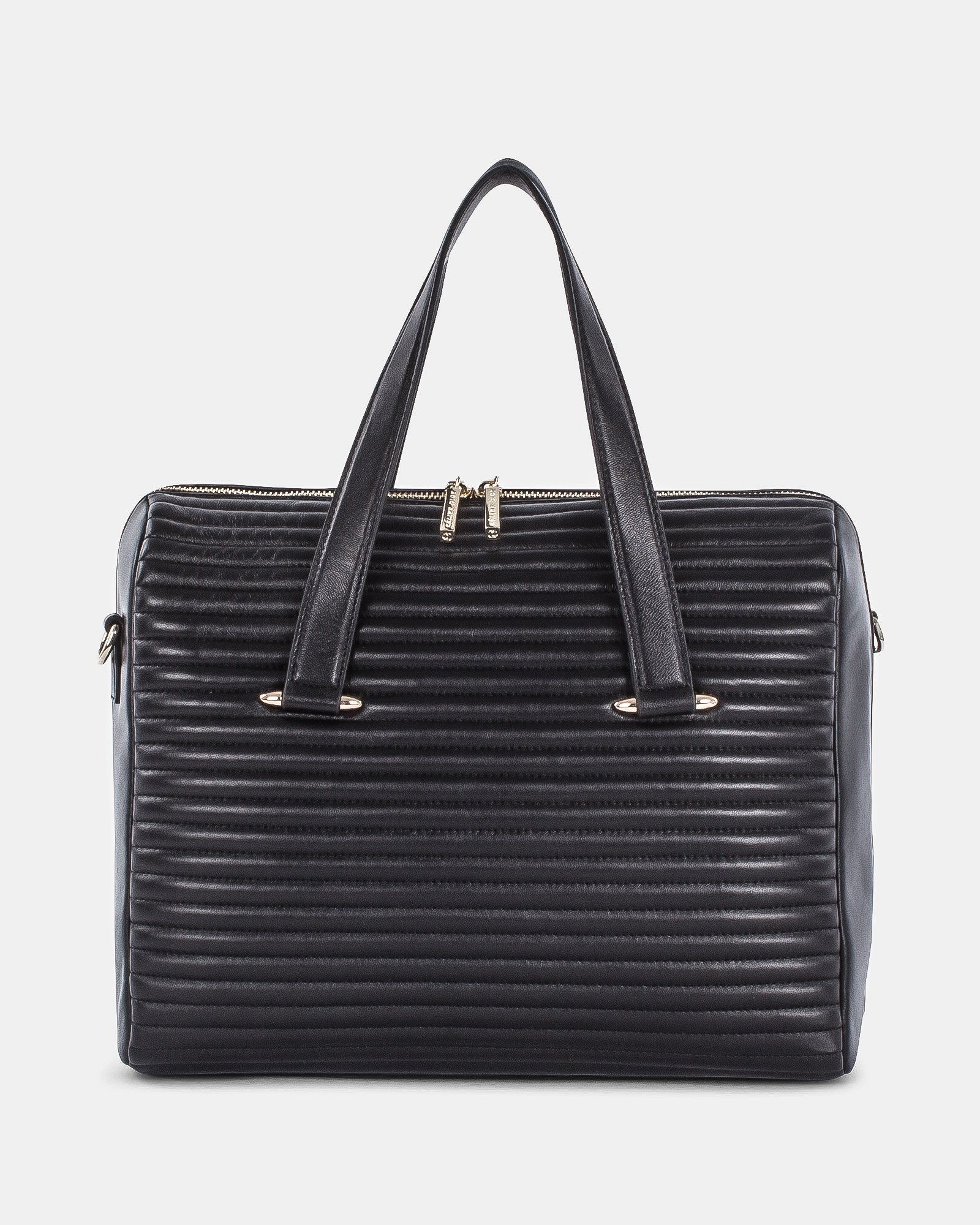 VIBRATO - LEATHER SATCHEL BAG with Adjustable and removable strap  - BLACK - Céline Dion - Zoom