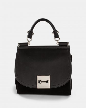 Baroque - Leather Handle bag with Adjustable & removable strap - Black  Céline Dion