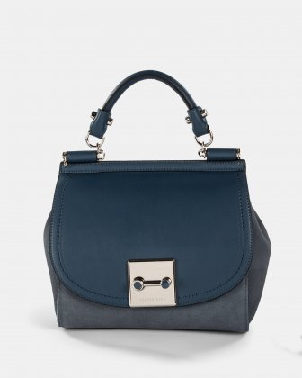 Baroque - Leather Handle bag with Adjustable & removable strap - Blue Céline Dion