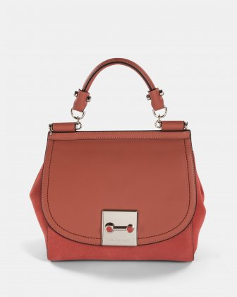 Baroque - Leather Handle bag with Adjustable & removable strap - Sienna   Céline Dion