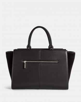 Baroque - Leather Satchel with Adjustable detachable strap - Black  Céline Dion