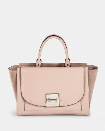 Baroque - Leather and suede Satchel - Blush  Céline Dion